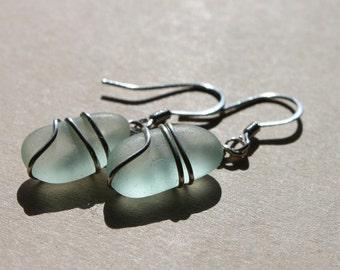 Genuine Sea Glass Earrings - Vintage Sea Foam Blue Seaglass Earrings Wire Wrapped