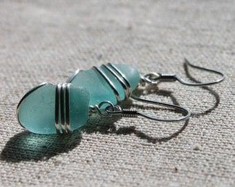 Genuine Aqua Sea Glass Earrings - Vintage Rare Aqua Found Sea Glass Earrings Wire Wrapped