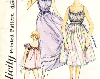 Sz 18/Bust 36 - Vintage 1960's Nightgown Pattern - Simplicity 3948 - Misses' Nightgown in Three Lengths and Panties