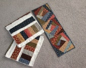 SPECIAL LISTING For Kathryn, Civil War Inspired, Set Of 2 Raggy Towels,  Wonky Log Cabin Table Runner, Civil War Fabrics,