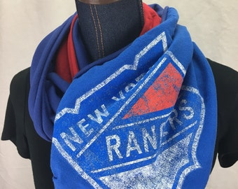 New York Rangers Recycled  T Shirt Infinity Scarf