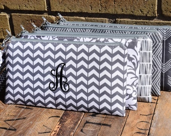 Embroidered Charcoal /Grey Bridesmaids Wristlets, Create your own Set,  Gray Custom Made Wristlet, Custom Made Bridesmaids Clutches,