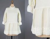 vintage 1960s ivory drop waist mini dress