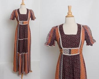 70s patchwork maxi dress | boho floral