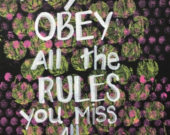 Obey the Rules 8 x 10 Quote on canvas word art