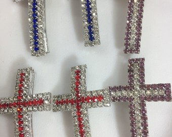 CLEARANCE: 6 cross components with 3mm tube bead connector, sparkly rhinestone, red purple blue, sideways cross