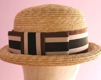 "Straw Bowler Hat ""Nicole Stripe"""
