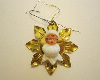 vintage angel ornament - GERMANY - angel on foil snowflake, made in Germany