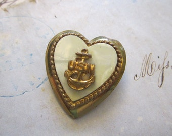 vintage USN heart pin - sweetheart pin, faux MOP - as is