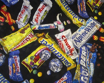 """vintage silk scarf - Nicole Miller CANDYBAR advertising scarf - 38"""", hand rolled edges, crica 1993, candy scarf"""