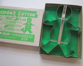 large vintage COOKY CUTTER - 2 in 1 snowan or gingerbread boy - cookie cutter with original box