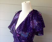 Vintage 1970s Wrap Dress Purple and Blue Floral Shawl Collar