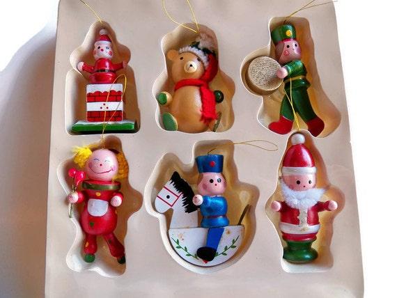 Vintage Wooden Christmas Ornaments 1980 JoyBrite Wood Tree