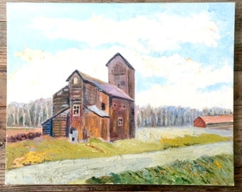 Original oil painting on canvas / barn oil painting / farm oil painting