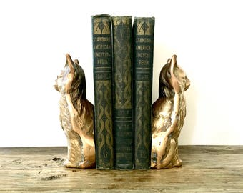 Solid Brass Cat Bookends / Cat Bookends / Brass bookends