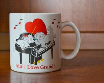 SALE vintage 1980s kitty cat valentines day love mug / vintage coffee mug / february decor