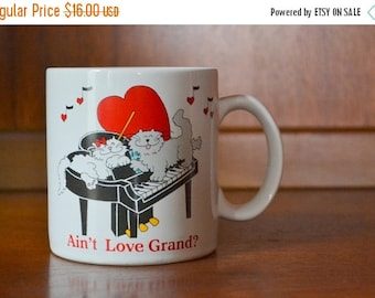 SALE 20% OFF vintage 1980s kitty cat valentines day love mug / vintage coffee mug / february decor