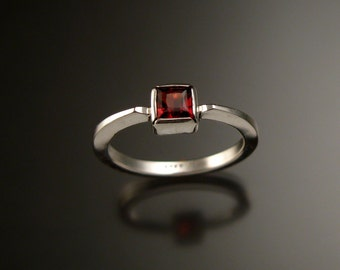 Garnet square stone stackable ring Sterling Silver ring made to order in your size