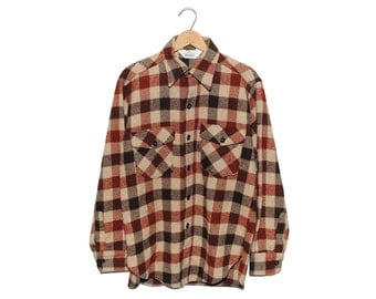 Vintage Woolrich Brown Buffalo Checkered Wool Flannel Button Up Shirt - Medium (os-bds-5)