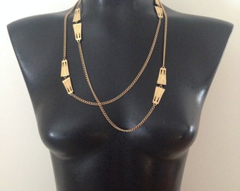 Mid Century Modern Detailed Necklace - Gold Metal Jewelry - Vintage Long Short Chain - Unique Accessories