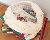 AMAZING Bridal Party Vintage eyelet 1950s White Cream lace bow Hat