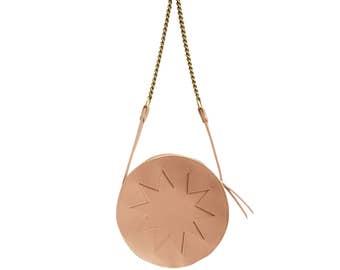 La Lisette // Nude circle bag, Pink Leather bag, zig zag, shoulder bag, festival bag