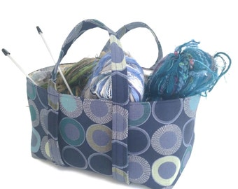 Small Project Knitting Bag  Blue Green Upholstery Fabric Sock Knitters Bag Knitting Storage Tote  Lining Inside Pocket Circle Motif