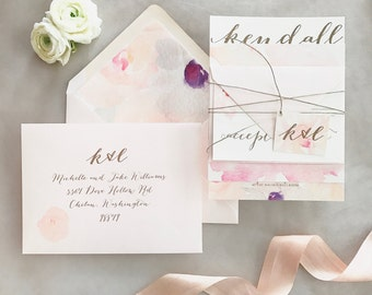 Laney Floral Watercolor Wedding Invitation Suite with Twine Tie and Monogram Tag - Champagne Gold, Ivory and Blush Pink {customizable}