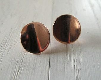 Handmade copper disc  stud earrings