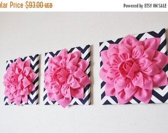 "SALE Wall Decor -SET OF Three Pink Dahlias on Navy and White Chevron 12 x12"" Canvas Wall Art-"