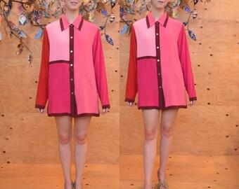 vintage 90's pink rose burgundy coral 100% silk colorblock oversize blouse m/l