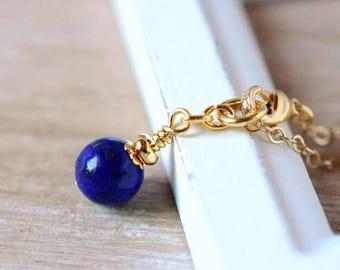 Blue Lapis Bracelet Lapis Lazuli Bracelet Dark Blue Bracelet Gold Chain Bracelet Stackable Bracelet Modern Sleek Minimal Birthstone Gift
