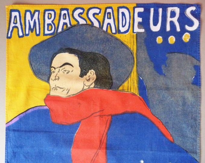 Vintage Retro Mid Century tea towel Poster Lautrec Ambassadeurs
