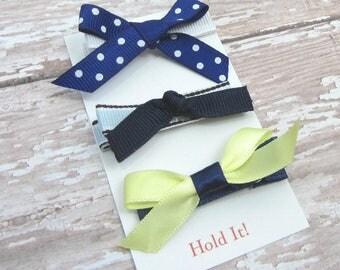 Blue & Yellow Bow Hair Clip, Girl Hair Clip, Bow Hair Clip, Womens Hair Clip, Baby Bow Hair Clip, Toddler Bow Hair Clip, Hair Clip, Set of 3