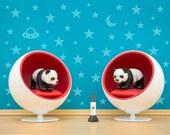 Mid century modern baby animal art print for kids, panda and ball chair diorama: Panda Planet
