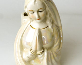 Virgin Mary 1950s Vintage Planter, Madonna Figurine, Opalescent Finish, Made In Japan