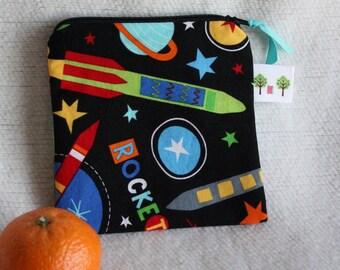 "Reusable Snack Sack, Mini Size - 5"" x 5""- Machine Washable, Zippered, EcoFriendly, Space theme"