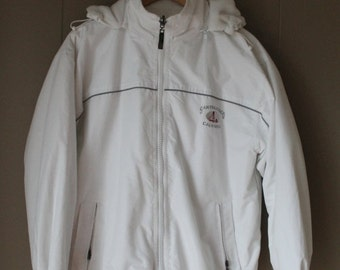 50% OFF San Francisco Golden Gate Bridge Bomber Jacket White Fleece Lined Embroidered Warm Water Resistant Fabric Size Medium