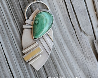 Golden Green  ... Pendant .. sterling silver statement PENDANT/Focal piece contemporary METALSMITH Artisan jewelry by Mikelene