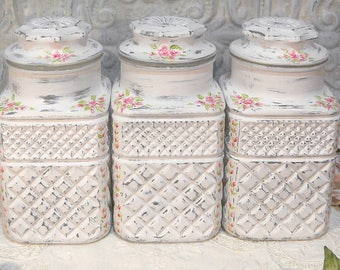 Large Painted Roses Canister Set Vintage Wexford Canister Set Hand Painted Jars Distressed Rose Canisters Anchor Hocking Apothecary Roses