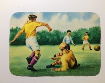 Magnet with upcycled scrap illustrations, Soccer!