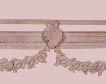 Stunning ivory shabby chic crib canopy, canopy for bed drapery with roses