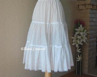 READY to SHIP. Cotton Tea Length Crinoline. Little Fullness Petticoat.