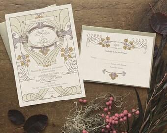 Lavender Wedding Invitation, Art Nouveau Wedding Invitations, Wedding Invitation Set, Boho Wedding Invitation, Spring Wedding - Littleton