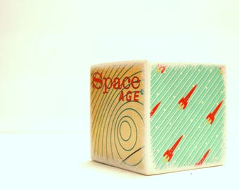 Space Age Piggy Bank, Tirelire, Wood Bank, Kids Bank, Money Box, Cash Box, Children, Space, Rockets, Boy