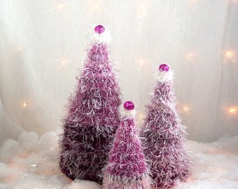 2016 Holiday SALE Christmas Trees Raspberry Parfait Felted Forest OOAK