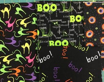 Halloween Clearance Neon Sale Fabric - Cats, Boo Prewashed