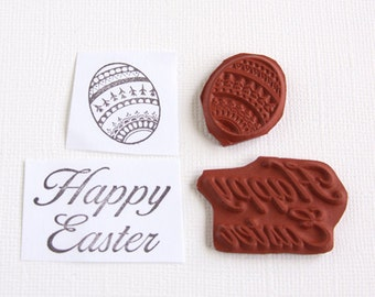 Easter Stamps Easter Egg Happy Easter Unmounted Red Rubber Stamp Unmounted Stamp Easter Sentiment Scrapbooking Rubber Stamping Card Making