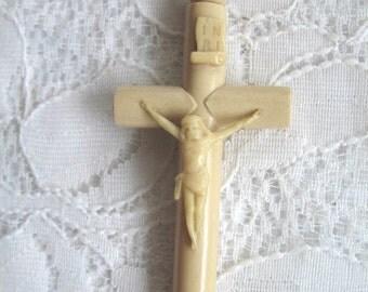 Vintage Large Celluloid Crucifix ~ Cross