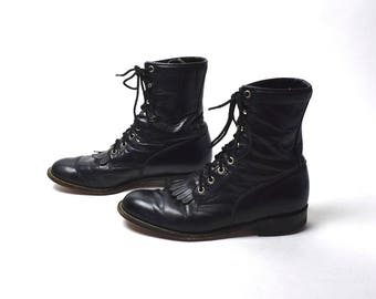 Black Justin Lacer Boots, Women's Size 8 1/2 B // Packer Boots, Black Ankle Boots